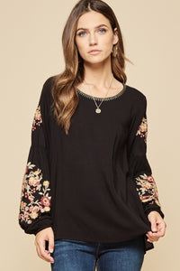 Emma Kate Embroidered Sleeve Blouse