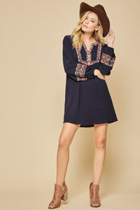 Navy Embroidered Dress with Bell Sleeve
