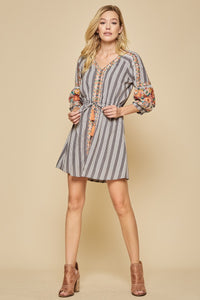 Charcoal Stripe Embroidered Dress with Tie