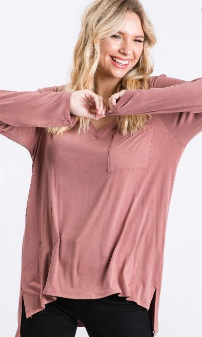 Brynn Washed Long Sleeve Pocket Top