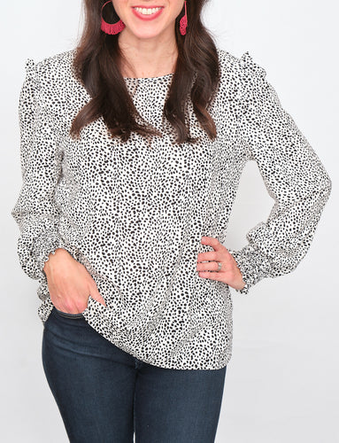 Dottie Leopard Print Top with Detailed Shoulder
