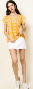 Elena Embroidered Short Sleeve Top