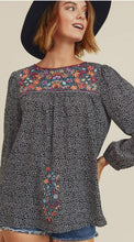 Load image into Gallery viewer, Felicity Floral Print Embroidered Bubble Sleeve Top