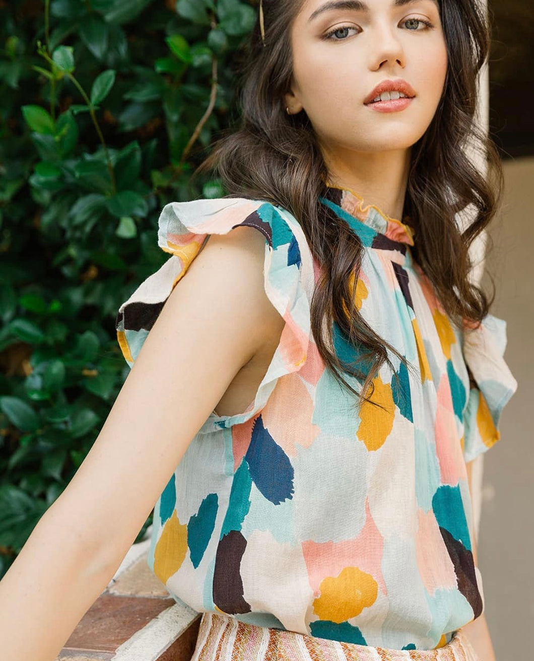 Marissa Multicolor Mock Neck Flutter Sleeve