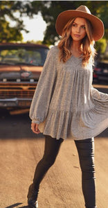 Josephine Solid Marled Knit Bubble Sleeve Peplum V-neck Top