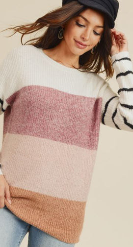 Kacie Blocked Color Sweater Top with Striped Sleeve