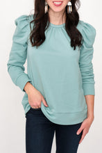 Load image into Gallery viewer, Lacy Puff Sleeve French Terry Sweatshirt