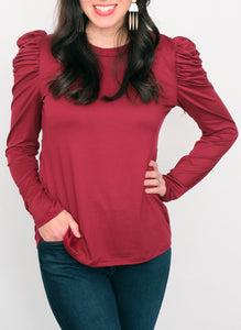 Louella Solid Top Frilled Detailed Sleeves