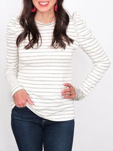 Louisa Striped Top Frilled Detailed Sleeves