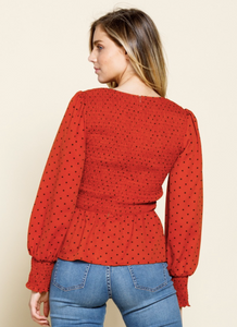 Pumpkin Dotted Smocked Peplum