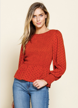 Load image into Gallery viewer, Pumpkin Dotted Smocked Peplum