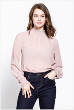 Load image into Gallery viewer, Jacqueline Swiss Dot Mock Neck Long Sleeve