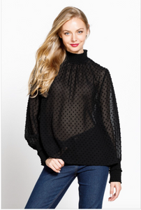 Jacqueline Swiss Dot Mock Neck Long Sleeve