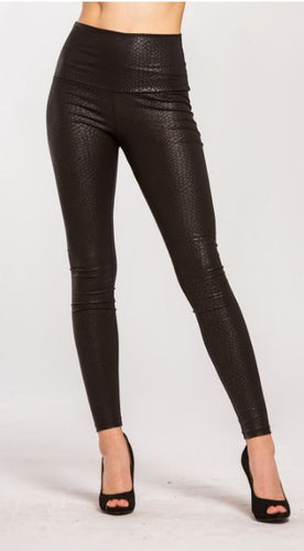 Paris Snake Faux Leather High Waist Leggings