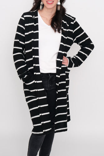 Perry Striped Hooded Cardigan