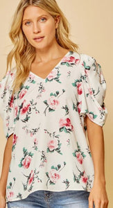 Primrose Floral Blouse with Puff Sleeves
