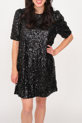 Robin Puff Shoulder Sequin Dress