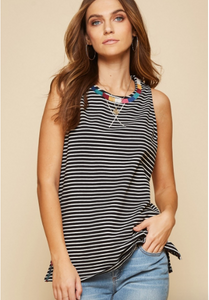 Maggie Striped Embroidered Tank