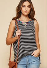 Load image into Gallery viewer, Maggie Striped Embroidered Tank