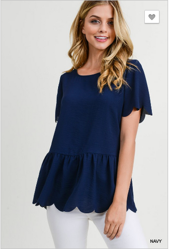 Navy Scallop Peplum