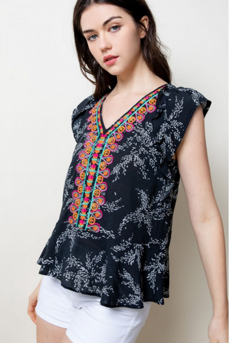Mona Multicolor Embroidered Top