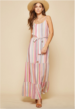 Load image into Gallery viewer, Pink Multi Stripe Maxi Dress