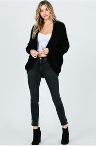 Furry Black Cocoon Cardigan
