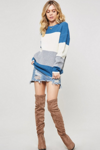 Karlie Color Block Knit Sweater