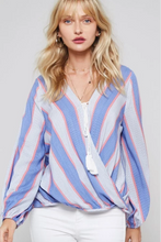 Load image into Gallery viewer, Ava Stripe Long Sleeve Blouse