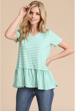 Load image into Gallery viewer, Olivia Stripe Peplum