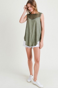 Winnie Washed Tank with Lace