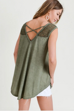 Load image into Gallery viewer, Winnie Washed Tank with Lace
