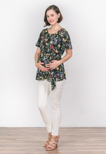 Load image into Gallery viewer, Frida Black Floral Top
