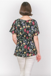Frida Black Floral Top