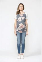 Load image into Gallery viewer, Floral Raglan Maternity Tee