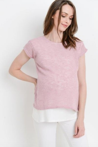 Mauve Knit Double Layer Maternity/Nursing Top
