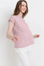 Load image into Gallery viewer, Mauve Knit Double Layer Maternity/Nursing Top