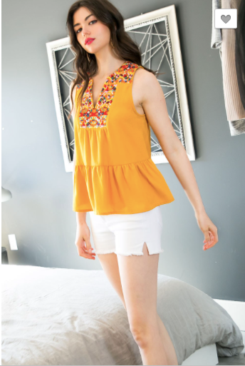 Sadie Sleeveless Embroidered Top