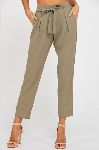 Olive Belted Bow Pants