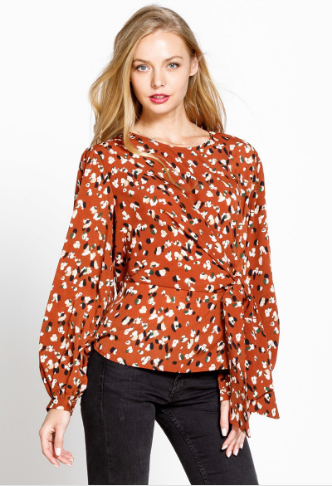 Betty Abstract Leopard Print Top in Rust
