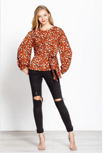 Load image into Gallery viewer, Betty Abstract Leopard Print Top in Rust