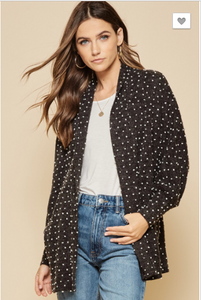 Kendra Open Front Charcoal Cardigan with Textured Dots