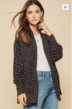 Load image into Gallery viewer, Kendra Open Front Charcoal Cardigan with Textured Dots