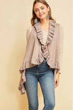 Load image into Gallery viewer, Jenna Ruffle Vest in Mocha