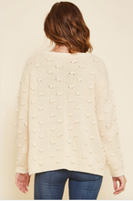 Load image into Gallery viewer, Mira Cable Knit Pom Sweater