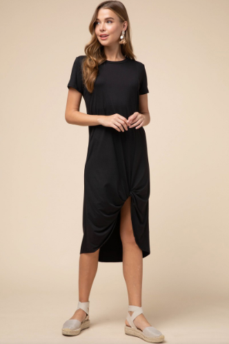 Tilly Black Dress with Front Twist Detail