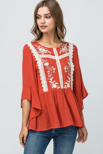 Darby Lace Front Ruffle Top