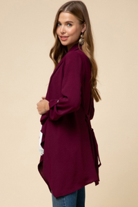 Kayla Burgundy Draped Jacket