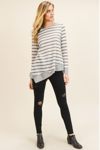 Lottie Asymmetrical Long Sleeve Stripe Top