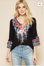 Load image into Gallery viewer, Mara Black Embroidered Bell Sleeve